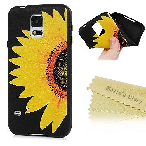 Samsung Galaxy S5 i9600 Neo Hülle Relief 3D Muster Schwarz Schale TPU Silikon Handyhülle Schutzhülle Mavis's Diary Shell Shin Tasche Etui Bumper Protective Case Back Cover Rück Gold Sonnenblume (Sonnenblumen Süßigkeiten Dekorationen)