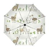 Paraguas Originales Blancos Con Diseño De Lamas y Cactus