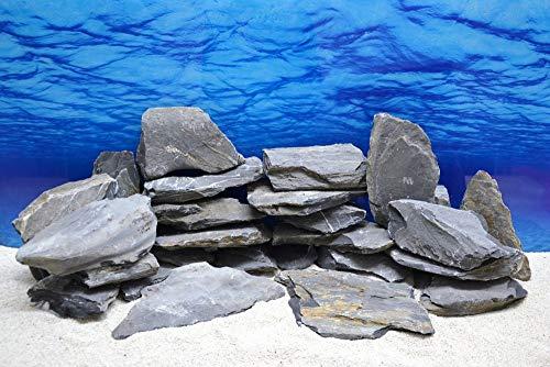 Pro Stein (Pro Stein Aquarium Deko Messerstein grau schwarz Natursteine 0,8-1,2 Kg Felsen Nr.48 flach Pagode Aquascaping)