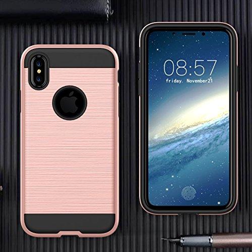 Handy Schutz Hülle für Apple iPhone X 10 5.8 Zoll | Hybrid Design GOLD | Stoßfest TPU Plastik Case Cover Brushed PC Armor Glänzend Bumper Hart Metallisch Roségold
