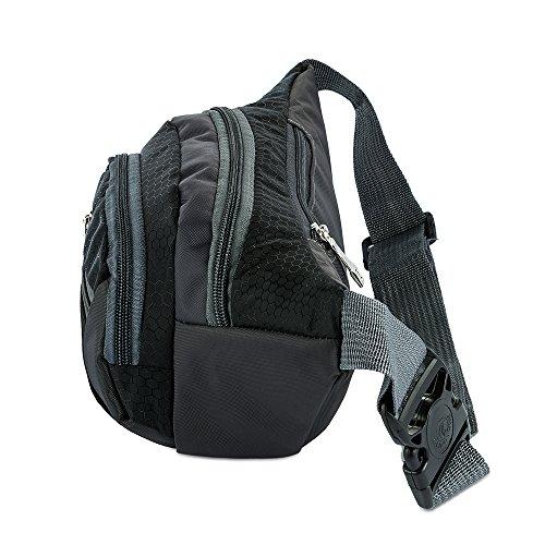 Gürteltasche, SKYSPER Wandern Camping Nylon Sporttasche für Männer Frauen 6272-Schwarz
