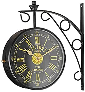 swagger 8 inches dial black double sided victorian vintage wall clock