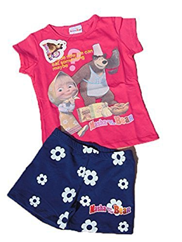 Maglietta masha e orso t-shirt - masha and bear - completo maglia fuxsia+ pantaloncino - 2 pezzi - taglia 7anni
