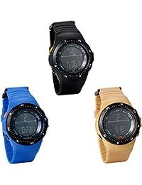 JewelryWe 3pcs - Multifunción exterior Brújula de pulsera reloj digital deportivo para aire libre (Azul, Negro y café)