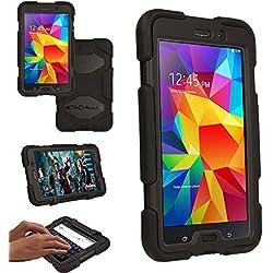 TECHGEAR® G-Shock Étui pour Galaxy Tab 4 7.0 Housse Coque Rigide, Très Haute Protection Anti-Choc avec Support Amovible Compatible pour Samsung Galaxy Tab 4 7.0 Pouces (Séries SM-T230) [Noir]