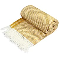 Plaid Sofa Throws Tassel Blanket for Beds Armchair Soft Chair Cover, 130 cm x 160 cm, Yellow