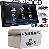 VW Golf 5 V - Kenwood DMX100BT - 2DIN Bluetooth | USB | MP3 | 7' TFT Autoradio - Einbauset