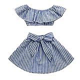 Kinder Kleidung Set, Sonnena Baby Mädchen Rüschen Schulterfrei Crop Tops T-Shirt + Bowknot Gestreift Rock Kurz Kleider Outfits Set Sommer Weich Babykleidung Set Kinderkleider (4 Jahre, Blau)
