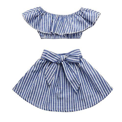 (Kinder Kleidung Set, Sonnena Baby Mädchen Rüschen Schulterfrei Crop Tops T-Shirt + Bowknot Gestreift Rock Kurz Kleider Outfits Set Sommer Weich Babykleidung Set Kinderkleider (2 Jahre, Blau))