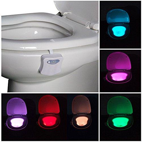 WC Nachtlicht Toilettenlicht LED Lampe Bewegungsmelder Aktiviert Sensor Nacht Toilettenschüssel Licht Sensor Leuchte Sitz Bunt 8-Farben-Änderungen (Aktiviert nur in der Dunkelheit) - Hygienische Regale
