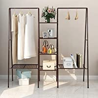 Garment Rank Metal Clothing Ranks with 4-Tiers 6 Shelf Shoe Rack 2 top crossbars Overhead Bar for Hanging Clothes, Coat Hat Rack and Storage. Durable Metal, Stable, Easy to Assemble. Adds Closet Space