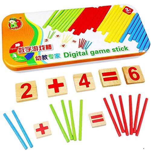 ri Mathe Spielzeug aus Holz inkl. Metallbox zum Aufbewahren Zahlen lernen mit Rechen-Stäbchen, Bunt / Natur ab 3 Jahre für die frühe Motorik Entwicklung & Ausbildung ihres Kindes (Spaß-spiele Für 9-jährige)