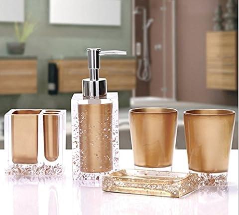 Bellabrunnen Set Of 5pcs Bathroom Accessory Set Acrylic Tumbler Dispenser Soap Dish Cups ,Gold