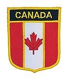 Kanada Flagge Aufbügeln oder Aufnähen auf Motiv | National Land Flagge von Kanada Shield Emblem Patches für Shirts Uniformen Ärmel Westen Fotoalben Jacken Jeans Mützen Caps Taschen Rucksäcke/Kleidung Applikationen für Kinder Erwachsene Army Military