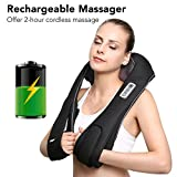 Neck Shoulder and Back Massager Cordless Shiatsu Massage with Heat, Adjustable Intensity and Rechargeable Design for Neck, Back, Shoulders, Thigh, Foot in Home Office Car - Naipo