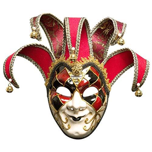 Toyvian Weihnachtsmaske Herren venezianischen Stil Jester Maske Karneval Kostüm Maske (Rot, Mann) (Venezianische Karnevalskostüme Männer)