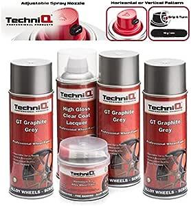 Techniq Gt Graphitgrau Metallisches Leichtmetallfelgen Farbe Set 3 X 400 Ml Dosen Hochglanz Klarlack Alu Felgenfüller 250 G Auto