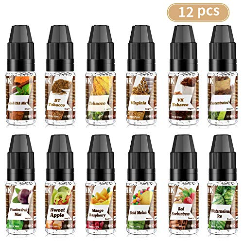 Joylink E-líquido, 12 x 10 ml E-Juice 70VG/30PG E-Liquid Set Cigarrillo Electronico Vape E-Liquid para Cigarrillos Electrónicos Collection, No Nicotine