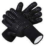 Guantes de Barbacoa,BBQ guantes con Forro de Algodón Guantes del Horno Resistente al Calor Hasta...