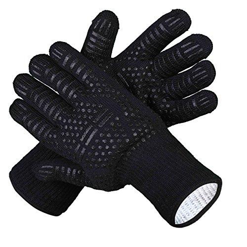 Guantes de Barbacoa,BBQ guantes con Forro de Algodón Guantes del Horno Resistente al Calor Hasta 500°C...