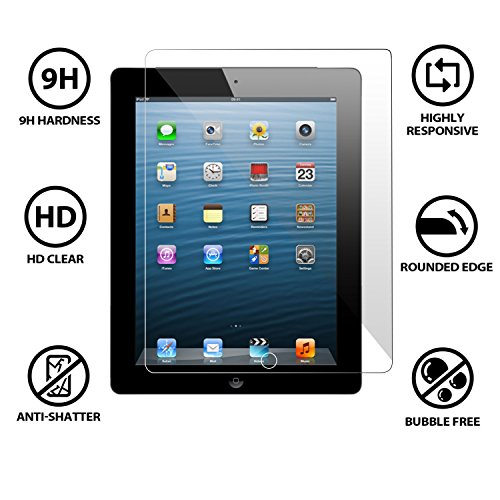 Cellbell TM Apple ipad 2 / 3 / 4 (transparent) 9H Premium Tempered glass screen protector with FREE Installation Kit