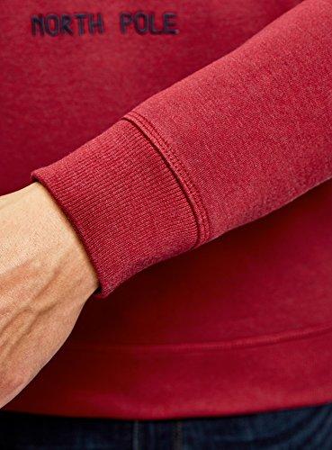 oodji Ultra Herren Gerade Geschnittener Winterpullover mit Weihnachtsstickerei Rot (4C12P)