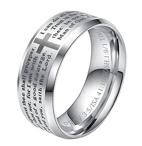 ALEXTINA Men's 8MM Stainless Steel Bible Verse Christian Cross Lord's Prayer Ring (Black/Gold/Silver/Rose Gold)