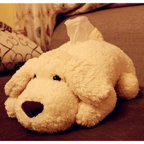 Wen Mei Super peluche perro caja de pañuelos pañuelo caso Cartoon Tubo de toalla de papel cubierta de tejido de papel higiénico tejido caja de almacenamiento de papel servilleta caja bandeja papel recipiente para coche uso doméstico baño accesorios