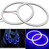 #9: UNIQSTUFF 1 PC 60mm Blue Led COB Angel Eye Ring O-ring Bike Light Super Bright Waterproof (Free 1 Pair Parking Blue Led Blue) For Bajaj Pulsar 220 F