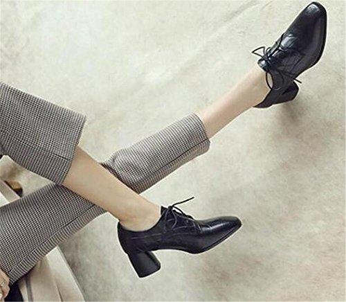 Scarpe da donna in pelle goffrata con lacci in blocchetto tacco largo Oxford Court Office Size 36 To40 Black