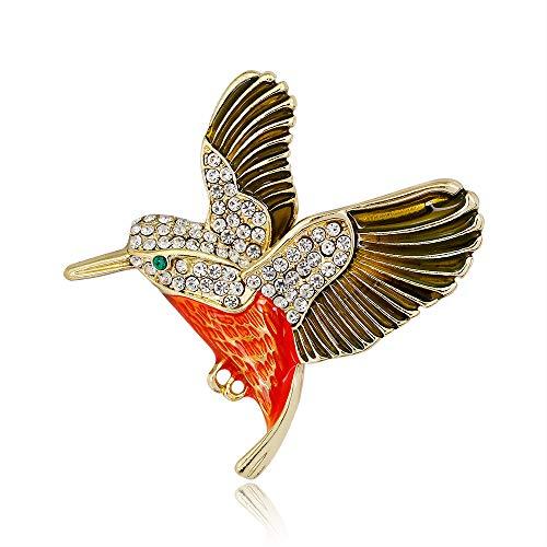 ZHBSS Pop Tier Brosche, Mode kreative Kolibri tropft Tier Brosche, Damen Kurzarm Zubehör 4,8 * 4,6 cm Gold (Kurzarm-tier)