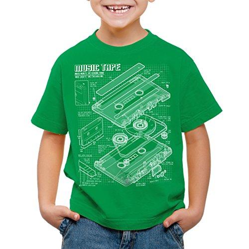 style3 Tape Cianotipo Camiseta para Niños T-Shirt DJ Turntable 3D MC, Color:Verde;Talla:104