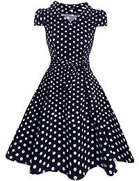 Zeagoo Damen Vintage 50er Jahre Kleid Swing Rockabilly Cocktailkleider  Partykleider Sommerkleider Kurzarm mit Gürtel 513bb275f5