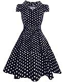 Zeagoo Damen Vintage 50er Jahre Kleid Swing Rockabilly Cocktailkleider Partykleider Sommerkleider Kurzarm mit Gürtel Blau Weiß L