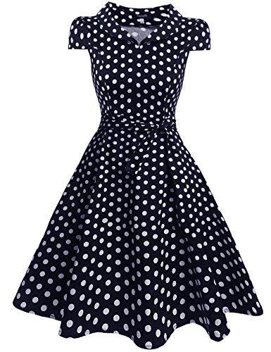 Zeagoo Damen Vintage 50er Jahre Kleid Swing Rockabilly Cocktailkleider Partykleider Sommerkleider Kurzarm mit Gürtel Blau Weiß XXL