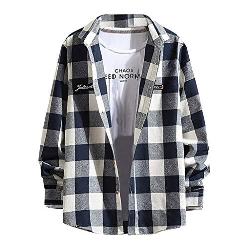 DeHolifer Mode Herren Hemd Groß Gitter Hemd Lange Ärmel Revers Freizeit Lose Hemd Männer Top Casual Knopf Hemd Slim Fit Atmungsaktiv Hemd
