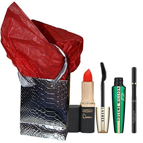 Coffret cadeau noel L'OREAL - mascara FELINE + eye liner superliner superstar noir + rouge levres color riche doutzen rouge + boite + papier soie
