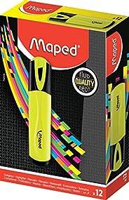 MAPED - Boite de 12 Surligneurs Fluo'Peps Classic, coloris Jaune - des Couleurs Éclatantes pour Surligner