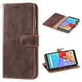 Mulbess Handyhülle für Xiaomi Redmi Note 5 Hülle, Leder Flip Case Schutzhülle für Xiaomi Redmi Note 5 Tasche, Vintage Braun
