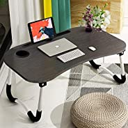 Folding Bed Laptop Table Tray Lap Desk Notebook Stand with ipad Holder Cup Slot Adjustable Anti Slip Legs Fold