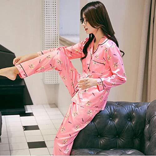 WYLLA Pyjamas Weibliche Herbst Ice Silk Sweet Print Dünnschliff Set Langarm Zweiteilige Simulation Seide Home Service Anzug Größe S
