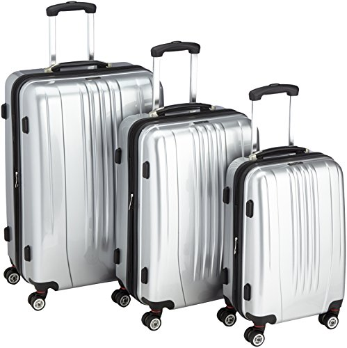 Packenger Premium, ens. de 3 valises à roulettes, coque dure Stone, argent métallisé, tailles M, L et XL