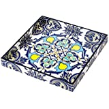 Scrafts Blue White Abstract Print Big Square Wooden Tray/Decorative Wooden Tray For Table Décor/Home Décor/Wooden Serving Tray/ Platter/ Wooden Platter/ Wooden Kitchen Tray/Dessert Tray/Size: LBH(Inches)=12x12x1.5