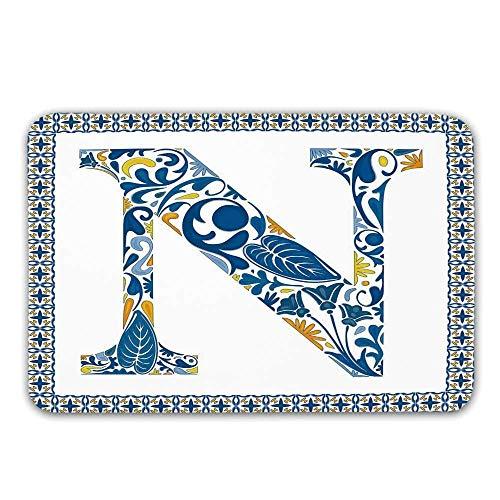 Kinhevao Buchstabe N Haustür Matte, Blumenmuster in Vintage Alphabet Schrift Design N in Azulejo inspiriert Frame dekorative Fußmatte für innen oder außen