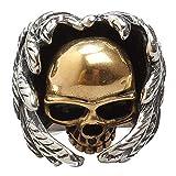NBMCXC Cabeza del cráneo de los Anillos del Motorista de la Vendimia para Hombre Anillos de Titanio alas del ángel de Oro