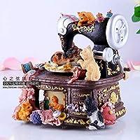 FAPIJIGR Caja De Música Retro Máquina De Coser Gato Caja De Música Caja De Música Regalo