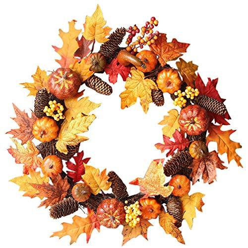 TIREOW 1 PC Halloween Wreath Maple Leaf Kranz herbstkranz Kürbis Kranz mit Licht für die Haustür zu Hause Dekor Ostern Dekoration (Für Zu Dekoration Hause Halloween Die)