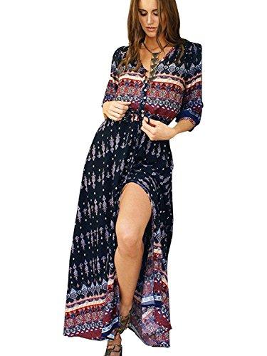 Simplee Apparel Damen Kleid Vintage Print V-Ausschnitt Boho Schlitz Kleid Maxi Kleid Strandkleid Dress mit Knopfleiste Schwarz (Vintage-print-kleid Schöne)
