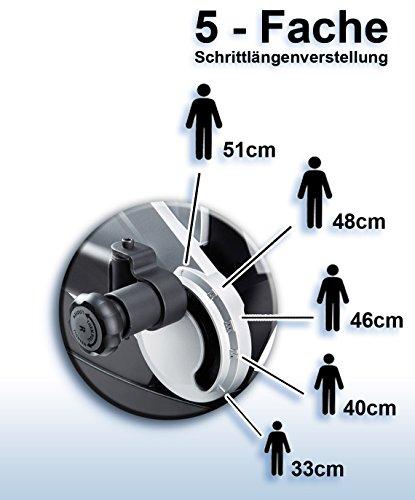 MAXXUS® CROSSTRAINER CX 7.4, Ellipsentrainer mit 5-fach Schrittlängenverstellung! Flache, elliptische Bewegung wie beim Laufen. Elektr. gesteuertes Magnetbremssystem, Trainingsprogramme, HRC-Programm, Schienensystem für sanften Lauf. Auf unterschiedliche Körpergrößen einstellbare Schrittlänge. - 9