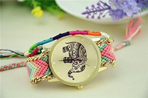 De la Mujer Tribal Elefante Imprimir Dial de Oro Gamuza de Lana Trenzado Cadena Reloj de Pulsera # 3, Color Rosa